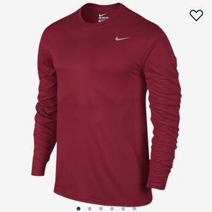 Nike Men's Red Long Sleeve Dri-Fit Athletic Cut